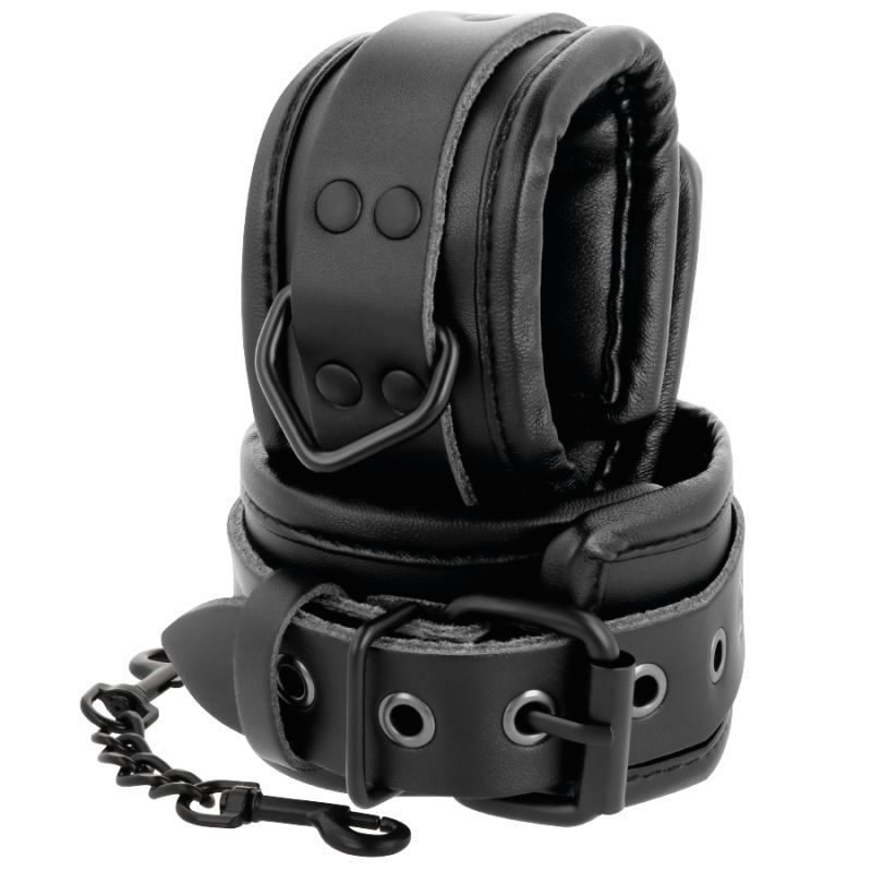 DARKNESS LEATHER AND HANDCUFFS BLACK Menottes  D-221255-D